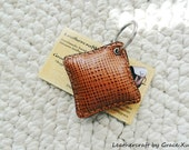 100% handmade hand stitched cowhide leather brown mini pillow key chain / key holder