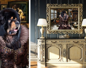 Tibetan Mastiff Art CANVAS Print Fine Artwork of Nobility Dogs Dog Portrait Dog Painting Dog Art Dog Print