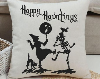Halloween Pillow Cover Happy Hauntings Large Throw Pillow cover | Halloween Home Decor | by lovebirds Lane