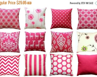 SALE Hot Pink European Sham, Candy Pink Euro Sham, Decorative Pillow Cover, 26x26 Zippered Pillow, Pink Cushion Cover- Girls Room Decor- Dor