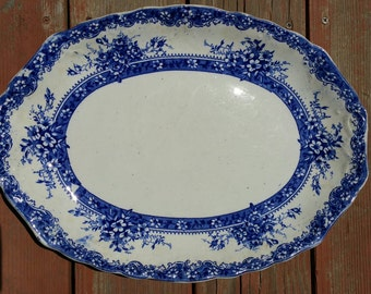 """New Wharf Floral Plymouth 16"""" Flow Blue Serving Platter 1890s Victorian England"""