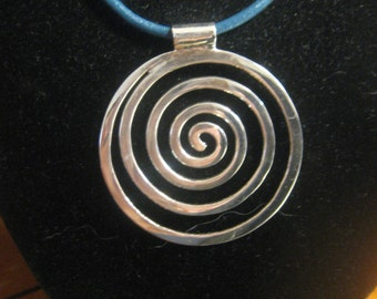 Spiral Pendant on Blue Leather