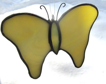 Stained glass Butterfly Mellow Yellow with pale green body. Great Gift.