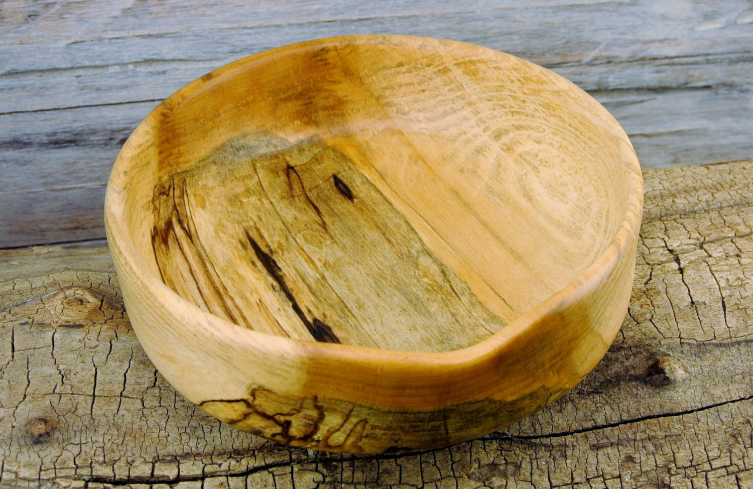 Wooden centerpiece bowl spalted maple rustic