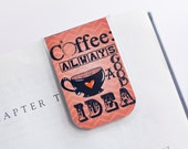 Bookmark Magnetic Laminated Coffee Morning Java Chevron Orange Love Heart Cup Teacher Gift Christmas Stocking Stuffer Student College