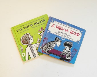 Vintage Science Books, Illustrated Kid's Books, Homeschool Science Books, Use Your Brain and Drop of Blood by Paul Showers, Set of 2 books