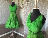 Vintage Lime Green Silk Sequined Dress Medium