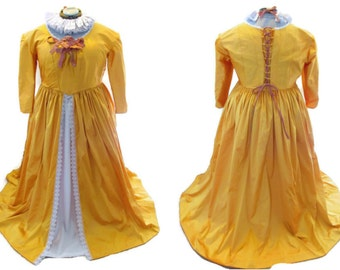 Historical Eighteenth Century Silk Dress made to order, bespoke, in your choice of color.