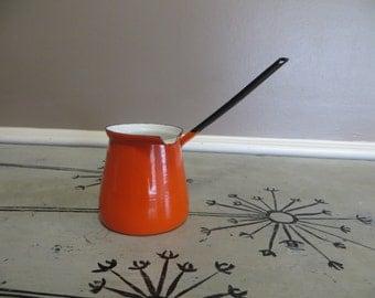 Orange Enamel Turkish Pot Butter Warmer Enamelware Turkish Coffee Saucepan Halloween Decor Orange