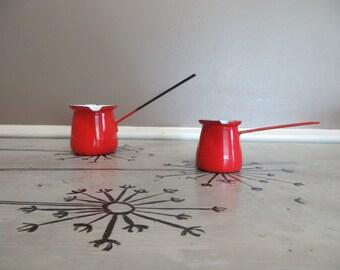 Red Enamel Turkish Pot Butter Warmer Enamelware Turkish Coffee Saucepan Measuring Cup Red Enamel Red Kitchen