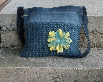 Blue and yellow shoulder bag