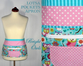 Bright OWLS Lotsa Pockets Apron, Vendor Apron with zipper pocket, Teacher- Waitress- New Mommy Apron, LIMITED EDITION, ready to ship now
