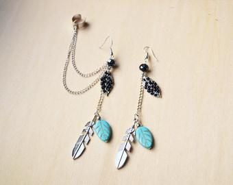 Black and Turuoise Leaf Ear Cuff Earrings (Pair)