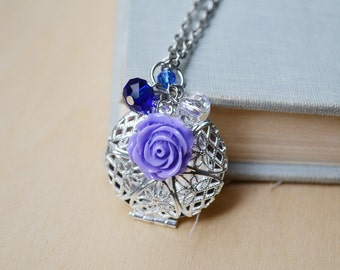 Purple Rose Silver Filigree Diffuser Custom Photol Locket Necklace