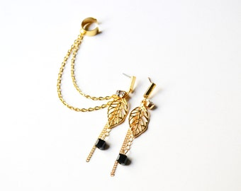 Gold Leaf and Black Bead Chain Ear Cuff Earrings (Pair)