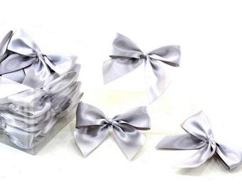 Satin Bows Gray 5 pcs