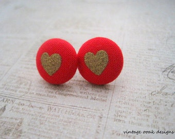 Valentine Button Earrings, Heart Earrings, Heart Studs,Fabric Button Earrings, Fabric Jewelry, Valentine Jewelry, Red & Gold Heart Earrings