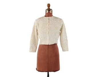 Vintage 1950's Cream All Wool Knit Iridescent Sequin Pin Up Mini Crop Evening Party Cardigan Sweater M L