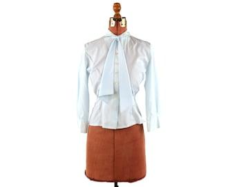 Vintage 1950's Pale Blue Preppy Ascot Tie Secretary Button Up Pin Up Blouse Shirt Top M