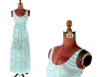 Vintage 1970's Bright Sky Blue + White Funky Op Art Floral Summer Empire Waist Maxi Dress S