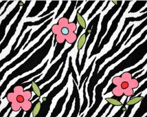 Flower on Zebra black print cuddle minkee fabric