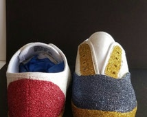 Patriotic Sneakers /glitter  shoes/ red white and blue shoes, Glitter sneakers