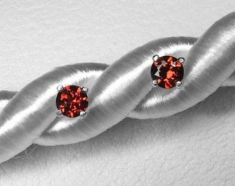 Rubellite Tourmaline Stud Earrings in Silver, 4 mm