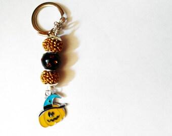 Pumpkin Lampwork Crystal Key Chain Halloween Holiday
