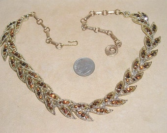 Vintage Coro Crystal Rhinestone Necklace Choker 1960's Signed Jewelry 2013