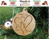 Baby's 1st Christmas Ornament Heart with Baby foot prints Personally Laser Engraved with Name & Year