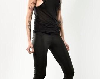 Summer Sale SLU Scuba Jersey Biker Leggings Tights Skinny Pants / Black / size S extra long