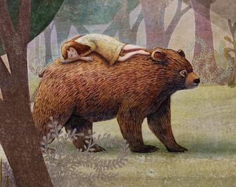 Childrens Art - Giclee Print - The Girl and The Bear - Nursery Art - Children Decor - Home Decor - Wall Art
