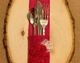 Hot Punk Fuchsia Burlap Silverware Holder with fushia fabric flower - Set of 4