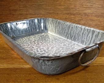 "Vintage Mottled Grey Graniteware Rectangular Baking or Roasting Pan with Handles 13""X9"""