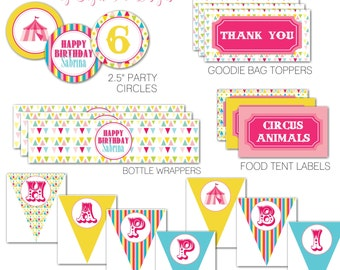 Carnival Circus Birthday Party Pack, Cupcake Toppers, Bottle Labels, Favor Tags, Food Tent Labels and Circus Happy Birthday Banner