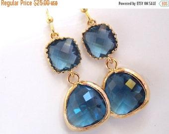 SALE Glass Earrings, Blue Earrings, Gold Navy Blue Earrings, Montana Blue, Dark Blue, Royal Blue, Bridesmaid Earrings, Bridesmaid Gifts
