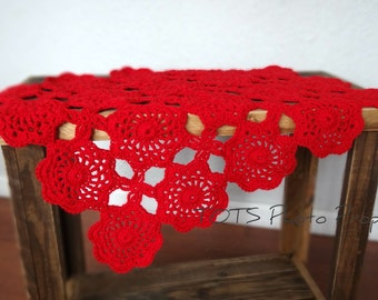 Red Lace Mini Blanket, Wool Mat Photo Prop, Crochet Baby Blanket, READY TO SHIP