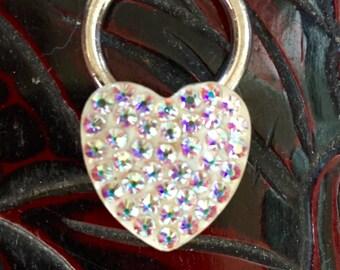 Gorgeous vintage heartshaped Swarovski crystal keychain