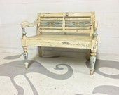 hand painted bench vintage shabby chic bench