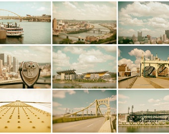 Pittsburgh Photograph Prints, Set of 9, Pittsburgh Wall Art & Home Decor, Available in 4x6, 5x5, 5x7, 8x10, 10x10, 11x14, 16x20