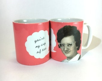 SALE - SEL -Mug Your My Cup Of Tea  50's Lady Coral English Text Ceramic Mug 11oz