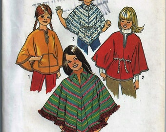 Uncut Vintage 1970s Girls' Ponchos Pattern Chest 26 Simplicity 7779