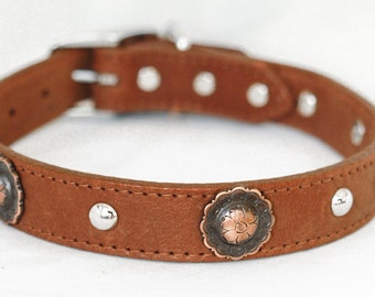 Brown Leather Dog Collar, Southwestern Leather Dog Collar, with Copper Conchos , Super Supple Two Layer Sturdy,  Dog Collar Leather