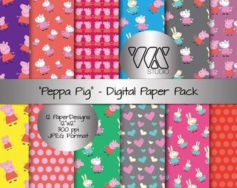 Peppa Pig Inspired Digital Paper Background Ideal for Scrapbooking - Children, Birthday Party, Pig, Cute, Cartoon, Peppa, Friends