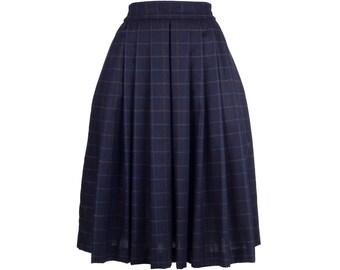 Wool skirt RETA, blue checked wool, midi skirt, handmade fashion - made to order S-XXL