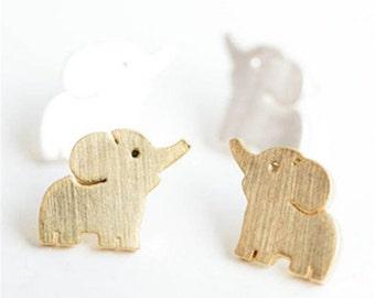Earrings, elephant earrings, elephant stud earrings, 18k gold plated earrings, ready to ship, stud earrings,  pierce earrings,