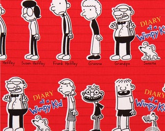 149100221  - Diary of a Wimpy Kid Red Character Print Cotton Fabric by the Yard