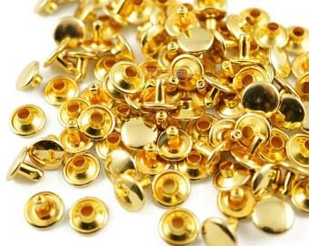 Size: 9*6mm Gold Double Cap Round Rapid Rivet Punk Rock Leathercraft Rivet 9*6mm [Cap Diameter*Shank length] (JR-RI9x6)