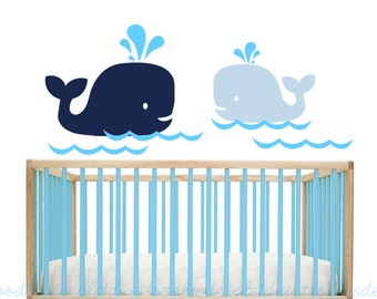 Hampton Whale Wall Decal, Kids Whales Decal, Whale sticker, Nautical Decor, Bathroom Decal, Vinyl Whale Decals, Gender Neutral Nursery Theme