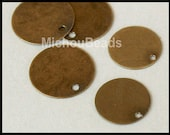 3 Matte ANTIQUED Gold 15mm Drops - Flat Round Blank STAMPING Disc Charm - Stamp Findings Pendant Coin - Instant Ship - USA Wholesale - 5567
